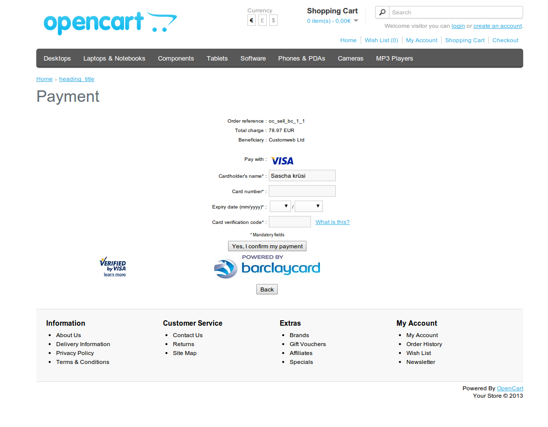customweb gmbh opencart barclaycard epdq payment extension. Black Bedroom Furniture Sets. Home Design Ideas
