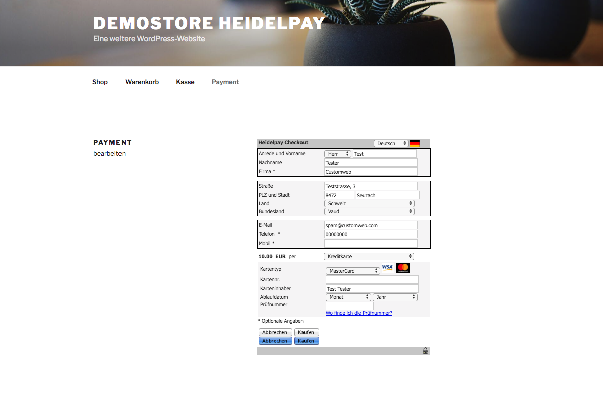 Carte Bleue Woocommerce.Customweb Gmbh Wordpress Woocommerce Heidelpay Payment Plugin