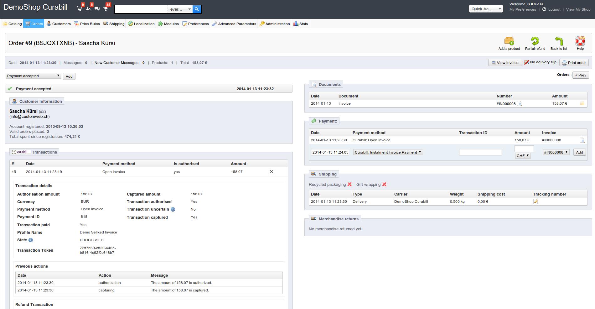 Customweb GmbH PrestaShop Curabill Invoicing Module - Invoice module