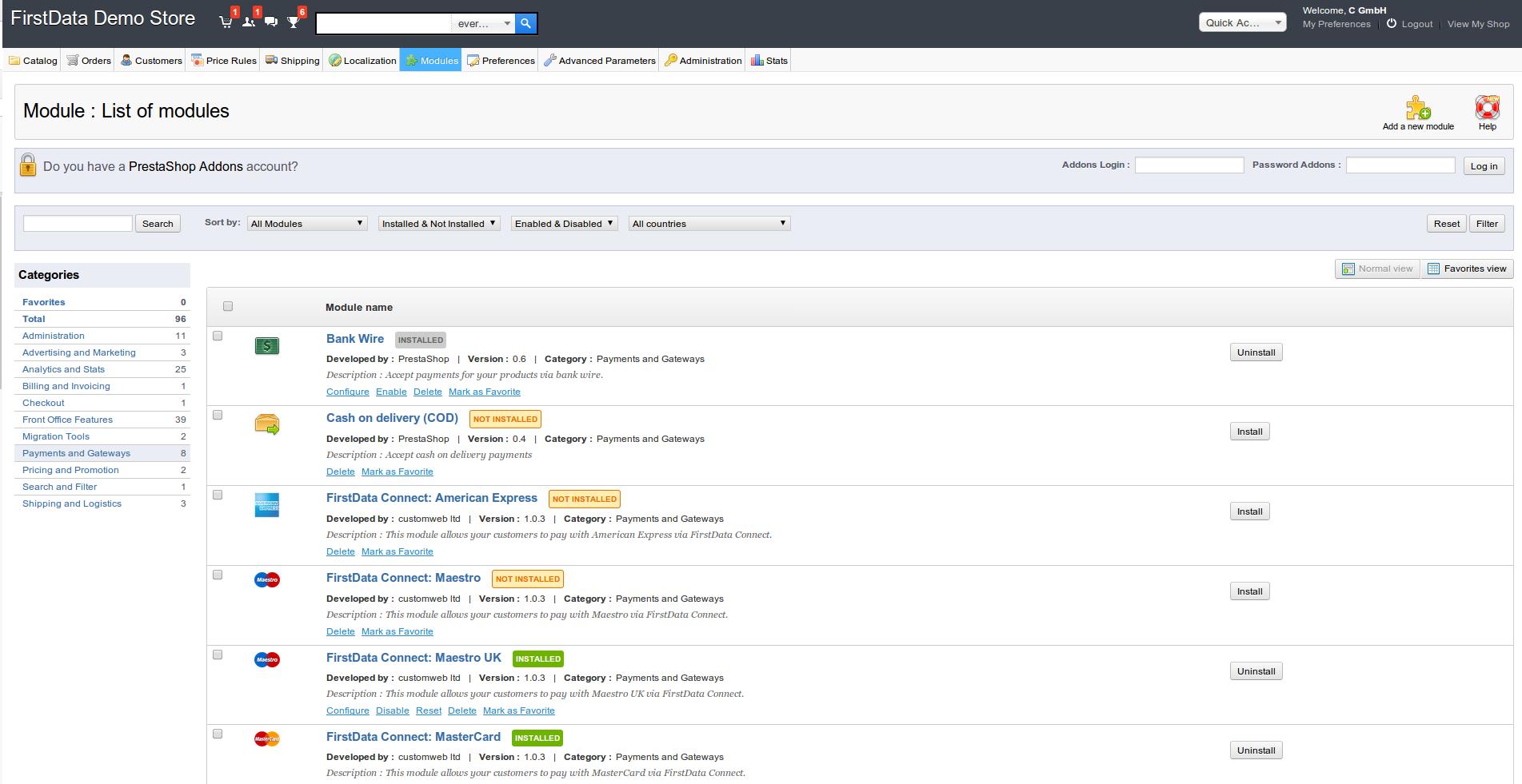 customweb GmbH - PrestaShop First Data Merchant Solutions
